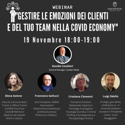 Locandina evento Gestire le emozioni dei clienti e del tuo team nella Covid economy